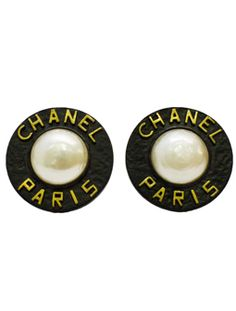 Chanel 'CHANEL PARIS' pearl earrings