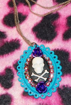 Crystal Skull Cameo Necklace by Pinkspiderwebs on Etsy, $15.00