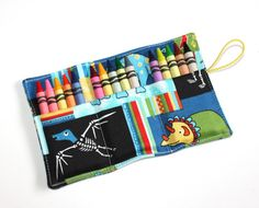 Dinosaurs Crayon Rolls holds 15 Crayons Birthday Party Favors, Crayon Holder