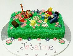 My very first cake with handmade fondant characters - Winnie the Pooh and friends picnic