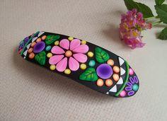 Polymer Clay Barrette Floral design french di FlowertownOriginals