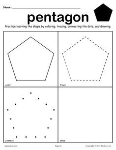 FREE printable pentagon worksheet. This pentagon coloring page and tracing worksheet is perfect for both toddlers and preschoolers. Includes a pentagon plus 11 other shapes worksheets. Get all twelve shape coloring pages and tracing worksheets here --> http://www.mpmschoolsupplies.com/ideas/7557/12-free-shapes-worksheets-color-trace-connect-draw/