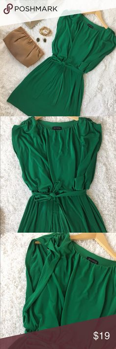 """Drop Waist Green Dress by Enfocus Studio This eye catching green Drop waist dress in green is a beauty . Features boat neck and adjustable belt. Polyester and spandex. Machine wash. 36"""" long from shoulder to hem. Size 14. Fairly new. enfocus studio Dresses Midi"""
