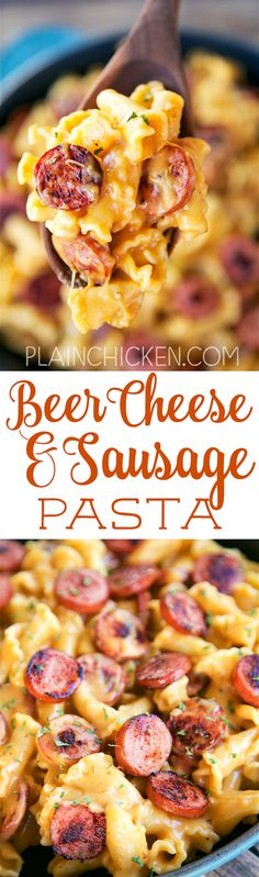 Beer Cheese and Sausage Pasta -CRAZY good! Ready in 15 minutes! Smoked sausage and pasta tossed in a quick homemade beer cheese sauce. Smoked sausage, pasta, beer, cheese, flour, worcestershire sauce, dry mustard and paprika. Tastes just like the beer cheese sauce from our favorite Irish pub. Great weeknight meal!
