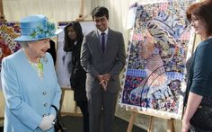 HM visiting the London Pride Art & Design exhibition.  Her portrait is made of postage stamps - neat!
