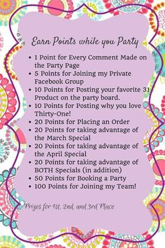 Facebook Party Points. #facebookparty www.OneMorePress.com