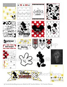 *Every purchase includes a complimentary printing guide and special gift to make your planning quick and easy!* Due to Mickeys popularity for Erin Condren and Happy Planner Teacher Planners, I decided to re-make this sticker sheet perfectly sized for the ERIN CONDREN VERTICAL LIFE PLANNER! Ive also added a second sheet with decorative elements - see below for details! These Mickey sticker sheets, made especially for teachers, will keep you smiling all week long! (If you are looking for my…