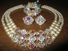 Vintage Demi Parure Crystal and Faux Pearl 1960's