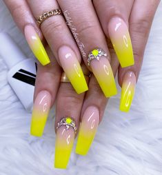 """Beautiful Colors 😍😍😍💅🏻💅🏻💅🏻💛💛💛🔥🔥🔥Only From Using """"Glamorous Nude & Num 😍😍😍💛💛💛💅🏻💅🏻💅🏻🔥🔥🔥 Neon Nails, Yellow Nails, Bling Nails, Colorful Nail Designs, Beautiful Nail Designs, Acrylic Nail Designs, Stylish Nails, Trendy Nails, Cute Nails"""