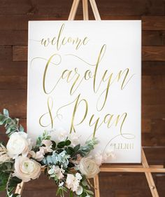 Gold Wedding Welcome Sign for Gold Wedding Reception White