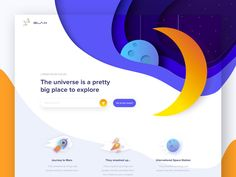 Hello dribbblers! Today we have a very exciting landing page for you - galaxy exploration page for kids to be closer to the stars :slightly_smiling_face: We were inspired by the NASA Space Center ...