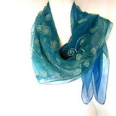 Hand Painted Silk Scarf Teal Aqua Ice Blue Swirls by silkshop