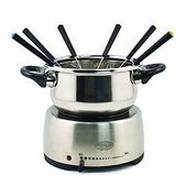 Fondue is always a fun and stylish way to serve hordeuvres, entr es and desserts. With the Nostalgia Electrics Stainless Steel Fondue Pot you can make delectable cheese dips for bits of bread and fruit or try decadent chocolate dessert fondues. Creatively and communally cook morsels of meat and seafood in a variety of oils and broths. The color coded forks make it easy for guests to serve themselves and the classic, stainless steel finish of this pot makes it a great fit for any decor.
