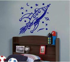 Rocket Spaceship Kids Vinyl Wall Art Sticker Decal #StickitThere #Kids