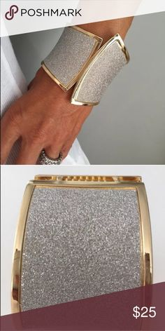 """Incredible show stopping diamanté cuff bracelet 1000s of clear diamanté dust on a gold tone clamper bracelet. 2 1/2"""" high and opens at the top. Jewelry Bracelets"""