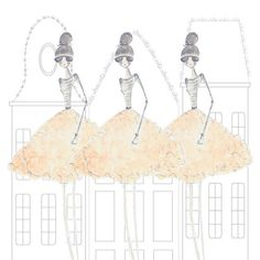 Fashion illustration City Chic with stripes in black white and beige. $20.00, via Etsy.