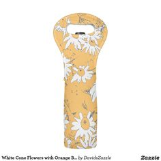 White Cone Flowers with Orange Background Wine Tote  Available on more products, type in the name of this design in the search bar on my products page to view them all!  #cone #daisy #shasta #calendula #floral #flower #orange #blue #white #grey #gray #pattern #print #all #over #abstract #plant #nature #earth #life #style #lifestyle #chic #modern #contemporary #home #decor #kitchen #dining