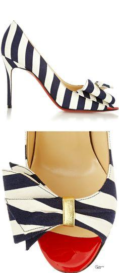 Christian Louboutin ● striped canvas pumps