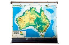:: vintage pull down map of Australia from Cram's Superior Series. This map is from a series of washable markable surface maps. Pull Down Map, Australia Map, 1930s, New Homes, Maps, Artwork, Vintage, Pyjamas, Students