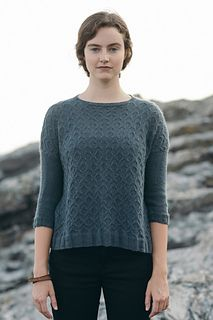 Subtle allover cables grace the body of this lightweight pullover by Bristol Ivy. Designed with generous ease and slim sleeves kept in plain stockinette stitch, this easygoing sweater is the designer's nod to 90's style.