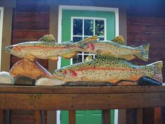 3 Rainbow Trout River Scene 39 inch chainsaw art wood carved sculpture freshwater fish swimming over river rock wall mount or table stand $195.00