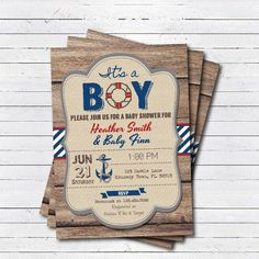 rustic wood nautical baby boy shower invitation. It's by CrazyLime
