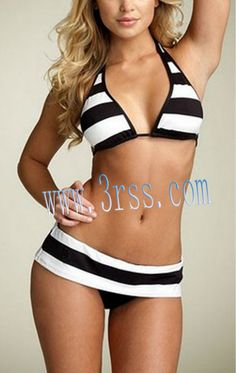 Push up striped open hot sexy girl bikini photo