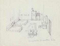 """Apuntes de diseño para el dormitorio de Katia y Sol Acín. La datación entre 1928 y 1935 se debe a la aparición, en el apunte para el despacho, de un """"Crucificado"""", cuya fecha es de 1928-1929. Una posibilidad es que fueran de 1933, tras la Lotería de Navidad en la que Acín fue agraciado con el premio Gordo y que propició la financiación de """"Tierra sin pan"""" dirigida por Luis Buñuel."""