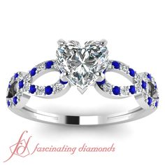 Infinity Ring|| Heart Shaped Diamond Side Stone Ring With Blue Sapphire In 14K White Gold