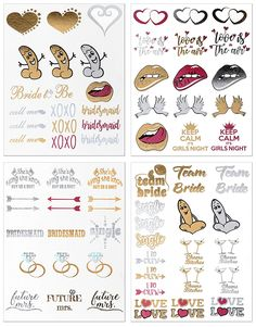 Bachelorette Party Tattoos - Set of 64 Gold and Silver Metallic Flash Tattoos with 29 Different Designs - Bachelorette Party Supplies, Favors and Decorations - by Amazing Night Productions -- Check out this great image  : wedding Makeup