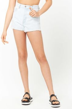 Frayed Cutouff Denim Shorts - Women - New Arrivals - 2000262522 - Forever 21 Canada English