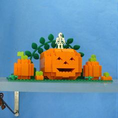 We should get a set of legos, then we can build and tear down our displays without needing to find more storage spots for the stuff Lego Halloween, Halloween Themes, Halloween Crafts, Halloween Displays, Library Displays, Book Displays, Lego Pumpkin, Bloc Lego, Diy And Crafts
