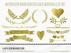 Watercolor Gold Clip Art No2- 14 Gold Metallic Watercolor wreath and laurel, arrows, logo design, digital heart frames, wedding invitation