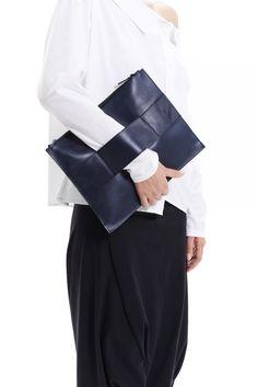 Minimalist Leather Clutch Deep Blue / Premium Leather Bag / Leather iPad Case / Dark Blue Leather Bag by Arya Sense