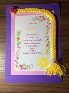 Convite - Rapunzel - Enrolados - Tangled