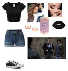 """""""Gemini, Stiles, and Scott meeting Derek Hale for the first time"""" by kiaraobrien on Polyvore featuring beauty, Converse, Brooks, Lime Crime and LE3NO"""