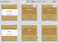Evernote 5 for Mac - A screenshot of the new Grid View, showing every stack and notebook in one place.