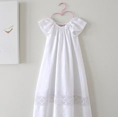 Baby Baptism Dress-Soft White Linen and Lace Long by ChasingMini