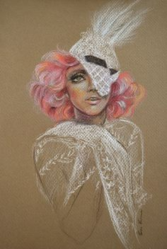 Lady Gaga - Original Colored Pencil Drawing. $80.00, via Etsy.