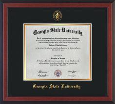 GSU Diploma Frame - Cherry Reverse - w/GSU Seal - Black on Gold mat – Professional Framing Company