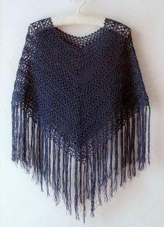 blue Crochet Poncho