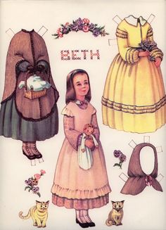 Sweet Beth from Little Women depicted in paper doll form. #Little_Women #1800s #paper #doll #dress #historical #costume