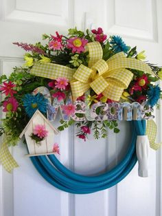 GARDEN HOSE WREATH  Pink  Yellow  Turquoise Spring Flowers  Birdhouse   Welcome Sign