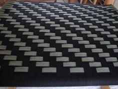 Herringbone in black and black/olive/beige stripe Herringbone, Weaving, Beige, Patterns, Rugs, Chair, Black, Home Decor, Block Prints