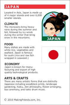 MakingFriends Facts about Japan Printable Thinking Day fact card for our passports. Perfect if you chose Japan for your Girl Scout Thinking Day or International Night celebration.