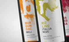 Designed by Borko Neric  Preliminary design of a series of wine labels for Vrsac Vineyards and offer advertising posters - billboards. Student's works represent the project