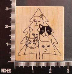 TREE WITH CATS RARE rubber stamp BY PAULA BEST