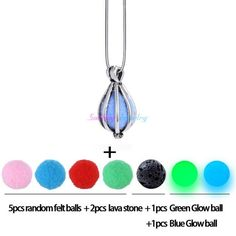 Vintage Essential Oil Diffuser Locket Necklace. Diversified Felt Pads with Lava Stone and Glow Balls