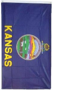 "Large New 3x5 Kansas State Flag US USA American Flags by NationalCountryFlags. $2.73. The official flag of Kansas was designed in 1925 and officially adopted by the State Legislature in 1927. It is represented by a dark-blue silk rectangle arranged horizontally with the state seal aligned in the center. Above the seal is a sunflower which sits above a twisted bar of gold and light blue which represents the Louisiana Purchase. It was modified in 1961 to add the word ""KANSAS""."