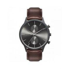 Ανδρικό ρολόι LE DOM LD.1002-14 Prime με ανθρακί καντράν, ορειχάλκινη κάσα και καφέ δερμάτινο λουρί | Ανδρικά ρολόγια Le Dom ΤΣΑΛΔΑΡΗΣ στο Χαλάνδρι #LeDom #Prime #ρολοι #tsaldaris Watches, Leather, Accessories, Clocks, Clock, Ornament